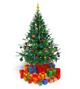 Decorated Christmas tree with gifts Royalty Free Stock Photography