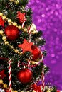 Decorated christmas tree on glitter background beautiful Royalty Free Stock Photo