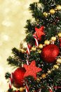 Decorated christmas tree on glitter background beautiful Stock Images