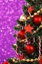 Decorated christmas tree on glitter background beautiful Royalty Free Stock Photography