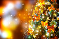 Decorated christmas tree holiday blinking background Stock Images