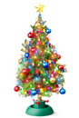 Decorated Christmas tree with luminous garland Stock Photos
