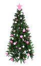 Decorated christmas tree with patchwork ornament pink star hat balls and small presents for new year isolated on white background Stock Photography