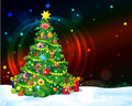 Decorated christmas tree presents around with starry sky background Stock Image