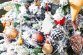 Decorated christmas tree in red and white colors merry happy ney year Stock Images