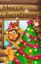 A decorated christmas tree surrounded with animals illustration of Royalty Free Stock Images