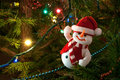 Decorated christmas tree with toy snowman Royalty Free Stock Photography