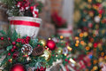 Decorated christmas tree with toys closeup Royalty Free Stock Photography