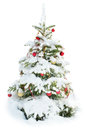 Decorated Christmas tree under snow isolated Royalty Free Stock Photo