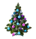 Decorated Christmas tree on white Royalty Free Stock Photo