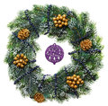 Decorated Christmas wreath with cones and beads Royalty Free Stock Photography