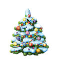 Decorated christmass tree illustration white background Stock Photos
