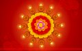 Decorated diwali diya on flower rangoli illustration of Stock Photos