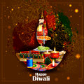 Decorated diya with cracker for Happy Diwali holiday background