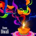 Decorated diya for Happy Diwali background