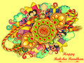 Decorated doodle art of Happy Raksha Banhan