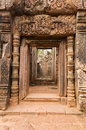 Decorated doorway at banteay srei temple with unusual pink stone cambodia Stock Photography