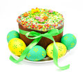 Decorated easter cake and eggs isolated on a white background Stock Images