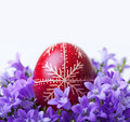 Decorated easter egg spring flowers closeup Stock Photo