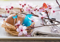 Decorated easter egg and spring flowers table setting plate with nest natural light rustic wood table Stock Photos
