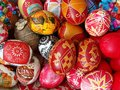 Decorated easter eggs a basket of Royalty Free Stock Photography