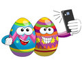 Decorated easter eggs cartoon taking selfie smartphone isolated