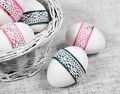 Decorated easter eggs close basket Stock Photo