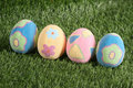 Decorated Easter eggs in the grass Stock Image