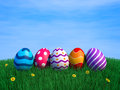 Decorated easter eggs green grass copy space d render Stock Photography