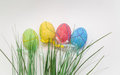 decorated Easter eggs and green grass on grey background