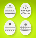 Decorated easter eggs vector green paper card with Royalty Free Stock Images