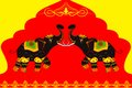 Decorated elephant showing indian culture vector illustration of Stock Photos