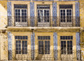 Decorated facade coimbra portugal with blue ceramic tiles in Stock Image
