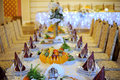 Decorated festive table luxury restaurant Royalty Free Stock Photos