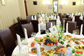 Decorated festive tables for wedding at restaurant Royalty Free Stock Photography
