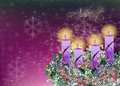 Decorated floral Advent wreath with four advent candles and glitter stars, illustration background Royalty Free Stock Photo