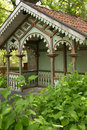 Decorated gazebo linkoping sweden a xix century in gamla friluftsmuseet old open air museum Royalty Free Stock Photos