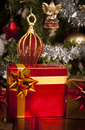 Decorated gift boxes under the Christmas tree Royalty Free Stock Photo