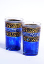 Decorated glasses two old hand painted Royalty Free Stock Images