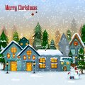 Decorated house on Happy Winter celebration greeting background for Merry Christmas Royalty Free Stock Photo