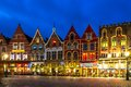 Decorated and illuminated market square in bruges belgium Stock Images