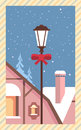 Decorated Lantern Snowy House Happy New Year Merry Christmas Greeting Card Retro Poster Royalty Free Stock Photo