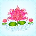 Decorated lotus flower vector illustration of Stock Images