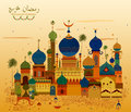 Decorated mosque in Eid Mubarak Happy Eid Ramadan Kareem background