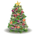 Decorated new year tree christmas with decorations on white background Stock Image