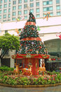 Decorated newyear-tree in Singapore Stock Images
