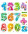 Decorated numbers see also corresponding abc set colorful same style with design elements in my portfolio Royalty Free Stock Image