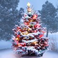 Snow Covered Christmas Tree Glows Brightly Royalty Free Stock Photo