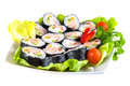 Decorated plate of sushi isolated on white background with clipping path Royalty Free Stock Photo