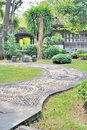 Decorated stone path in the garden tropical Royalty Free Stock Photos